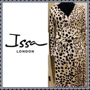 Issa London Leopard Print Silk wrap dress